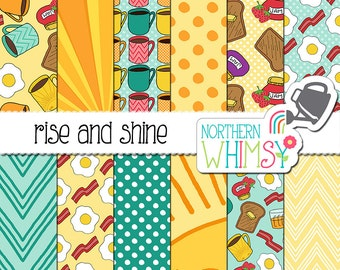 "Food Digital Paper (Breakfast) ""Rise and Shine"" - Morning scrapbook paper - egg, bacon and toast seamless patterns in yellow & turquoise CU"