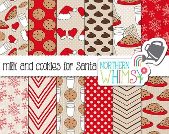 "Christmas Digital Paper - ""Milk and Cookies for Santa"" - red and tan seamless Christmas patterns - winter scrapbook paper - commercial use"