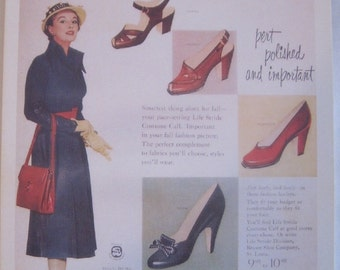 Retro vintage repro postcard vintage ad mad men rockabilly pin up great quality fifties 1950's woman shoes pin up clothes 1940's