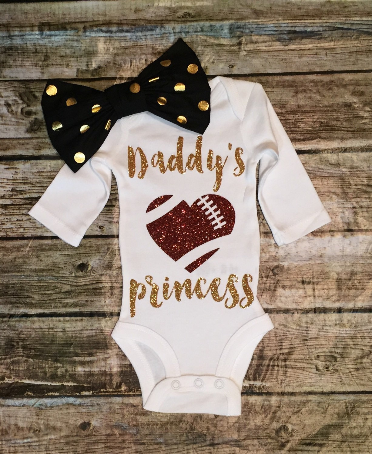 Baby Girl Daddys Princess esie Football by BellaPiccoli