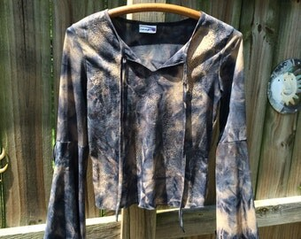 90s vintage TIE DYE SPARKLE top, flared bell sleeves/rave girl
