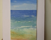 Mini Art . Tiny Watercolor Painting . Miniature California Coast Seascape . Small Painting . Beach Decor . Water . Pacific Ocean