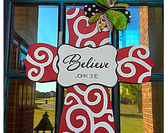 Cross Door Hanger, Christmas Door Hanger, Cross Wreath, Believe Door Hanger