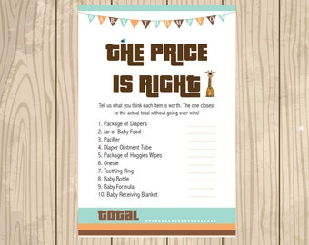 Baby Shower Game. Price Is Right Baby Shower Game. Guess The Price. Baby