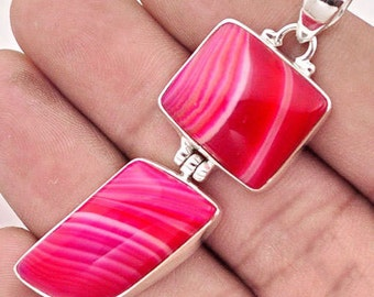 Pendant 925 sterling silver Agate Pink