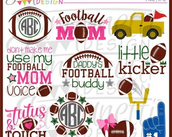 Football clipart, football lettering, sports clipart, football clip art, instant download