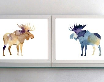 Set of 2 moose paintings - Art Prints - moose watercolor illustration - moose Decor purple brown - Nursery Art - Animal Painting moose Art