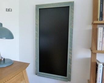 Large blackboard / chalkboard - Handmade. Rustic duck egg blue frame.