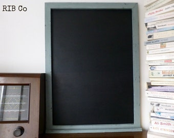 Extra Large blackboard / chalkboard - Handmade. Aged duck egg blue frame.
