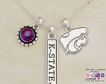 Kansas State Wildcats Triple Charm Necklace