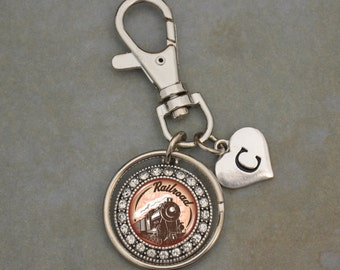 Custom Initial Railroad Artisan Keychain - OTRRD54509