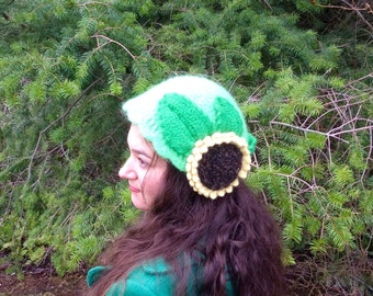 Vintage Style Felted Wool Sunflower Cap