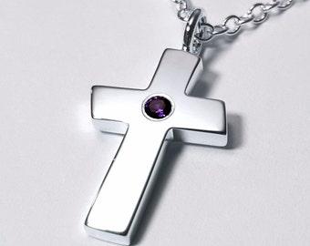Large Amethyst Cross Pendant, Sterling Silver Cross Necklace, Large Amethyst Cross Necklace, Sterling Silver Cross Pendant, Silver Cross