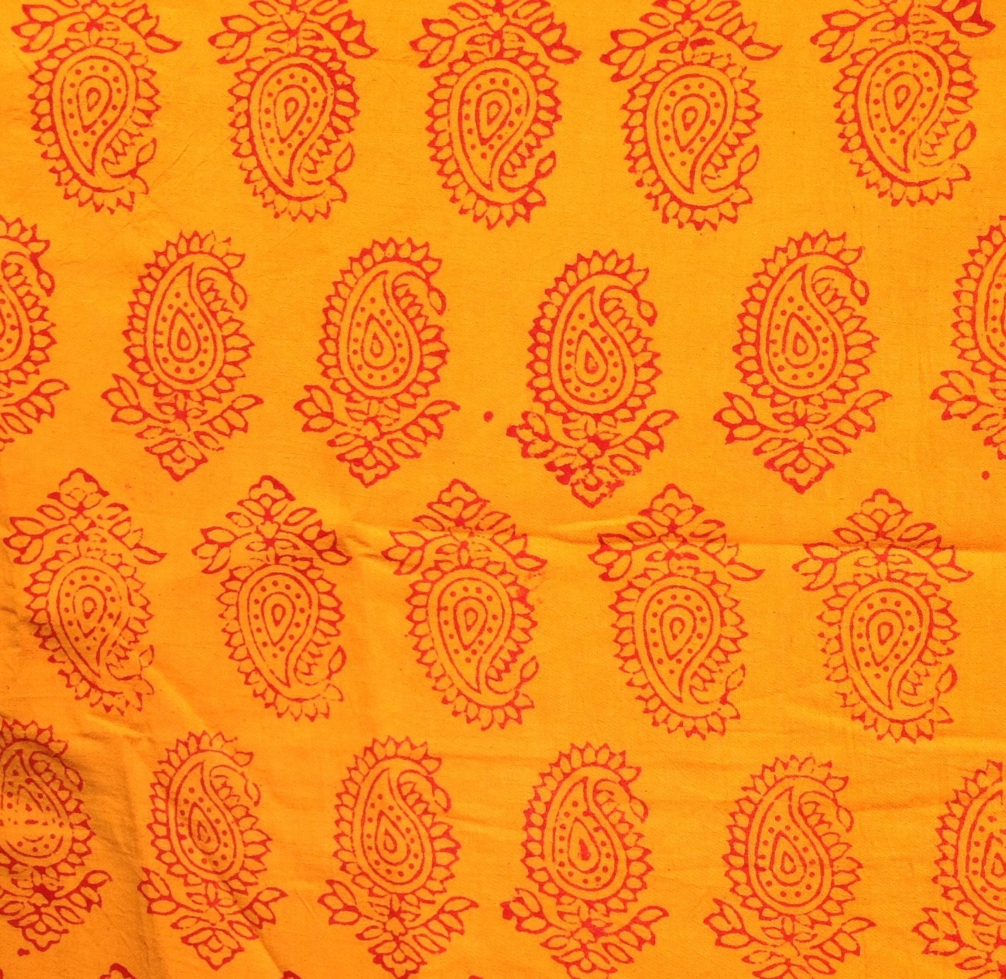 Fabric remnant indian block print paisley fabric yellow for Fabric remnants