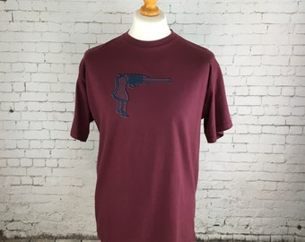 SALE Mens clothing, casual T shirt,burgundy tee, gun design, handprinted 2 colour silk screen,gothic, grunge tee
