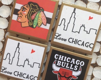 COASTERS!!! Chicago coasters with skyline, Bulls and Hawks