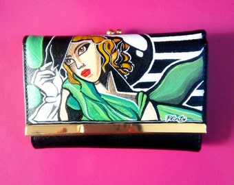 Hand painted leather wallet black
