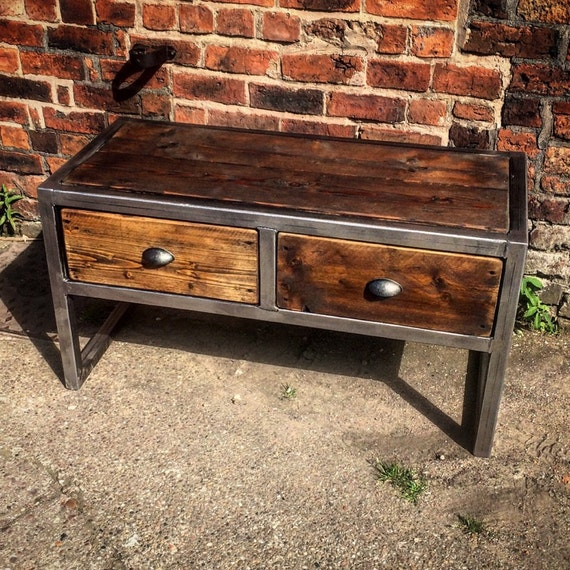 Industrial Chic Coffee Table: Industrial Chic Reclaimed Custom Coffee Table Tv Unit With 2
