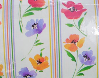 1 Sheet of Vintage Floral Wrapping Paper, Flower and Stripes Gift Wrap, All Occasion Wrapping Paper