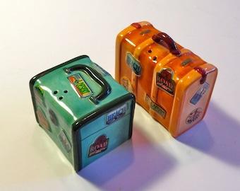 Vintage Salt and Pepper Shakers - Ceramic - Vintage Kitchen - Luggage like