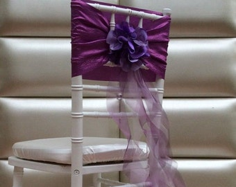 Ruffled Purple Chair Sash with Hydrangea. Free shipping cost!