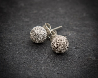 Silver Studs, Silver Earrings, Silver Granulation Studs, Round Ball Stud Earrings, Everyday Earrings, Simple Studs, Sterling Silver