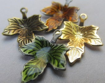 Autumn Maple Leaves Charms Mix - 20/40/60 Green, Auburn, Bronze And Gold Leaf Findings CM6373