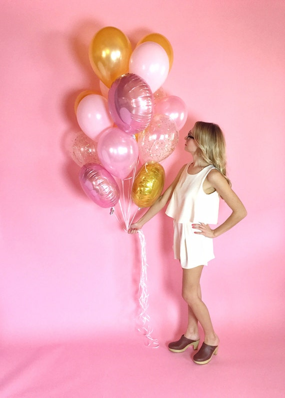 Pink Gold Giant Balloon Bouquet Confetti Balloons Free