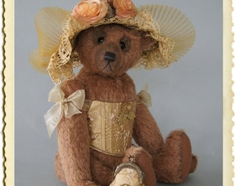 Lady Ascot Gold, 50 cm light brown mohair teddy bear