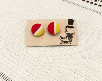 Fabric Covered Button Earrings RED & YELLOW