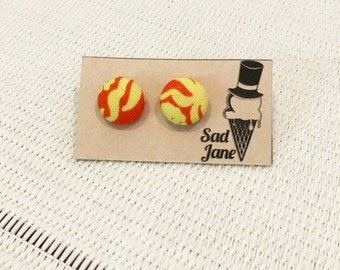 Fabric Covered Button Earrings ORANGE & YELLOW