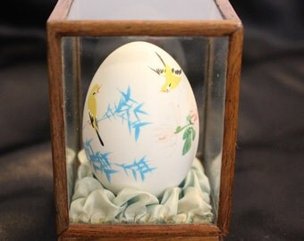 Vintage Hand Painted Egg in a Rosewood stand Birds and Bamboo