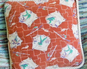 Davy Crockett / Vintage Child's Hero / King of the Wild Frontier / Vintage Fabric / New Pillow and Trim