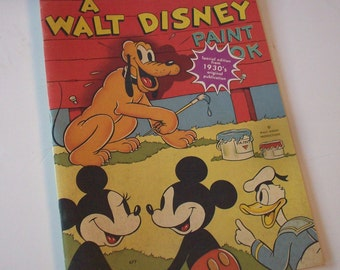 Vintage Mickey Mouse /  Child's Workbook / Most Pages Blank / Very Early Donald Duck / Color Cover B & W Inside / Large Size