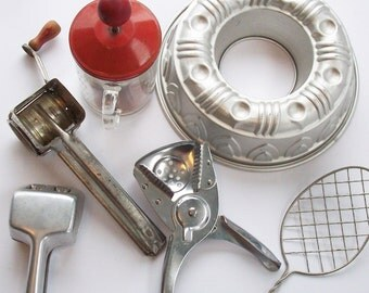 Vintage Assortment of Kitchen Utensils from the past / Nut Chopper / Cheese Grater / Lemon Squeezer / Mold / Mystery Object!