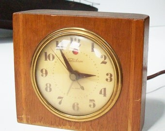 Antique Art Deco Wood Clock / Runs quietly / Original Condition / Wood with Brass Trim