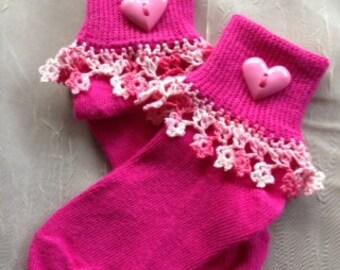 Pink Crochet Valentine's Socks