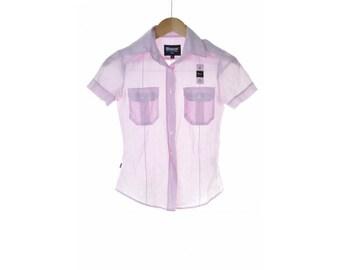 Blauer Womens Shirt Blouse XS Pink White Stripe Cotton