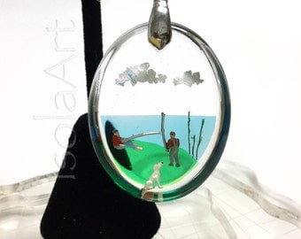 Diorama jewelry boys gone fishing, high quality oval resin pendant, handmade jewelry, 925 sterling silver necklace, gift for her