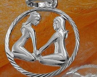 Zodiac pendant twin, 925 silver