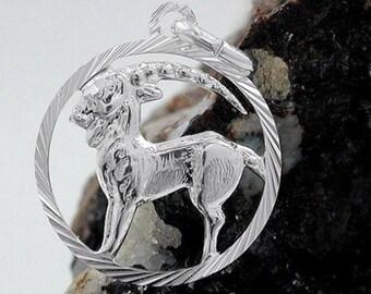 Capricorn zodiac pendant, 925 silver
