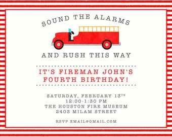 Sound the Alarm Watercolor Vintage Fire Truck, Department and, Hydrant Boy Birthday Invitations  Invitations-FREE SHIPPING or DIY printable