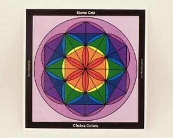 Flower of Life Chakra Crystal Grid Laminate Board / Crystal Grid Board / Spirit Board / Table top Crystal Grid Board