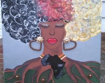 Original Mother Africa Earth Acrylic Art on Canvas 16x20