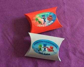 18 Personalized PJ Masks Pillow Boxes, Party Favors