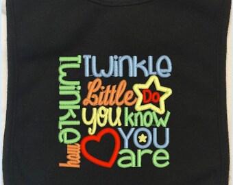 Twinkle Twinkle Little Star Baby Bib, Embroidered Baby Bib