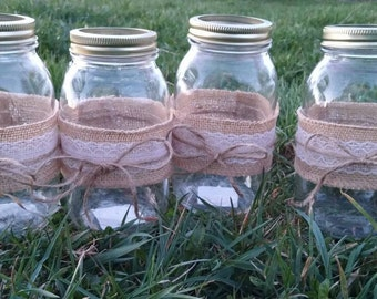 Burlap and lace jar (set of 12)