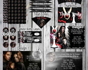 Twilight  Custom 8 pack Birthday Invitations and more! Edward, Bella, Jacob Vampires-Twilight Birthday Party, Twilight Party-Vampire Party