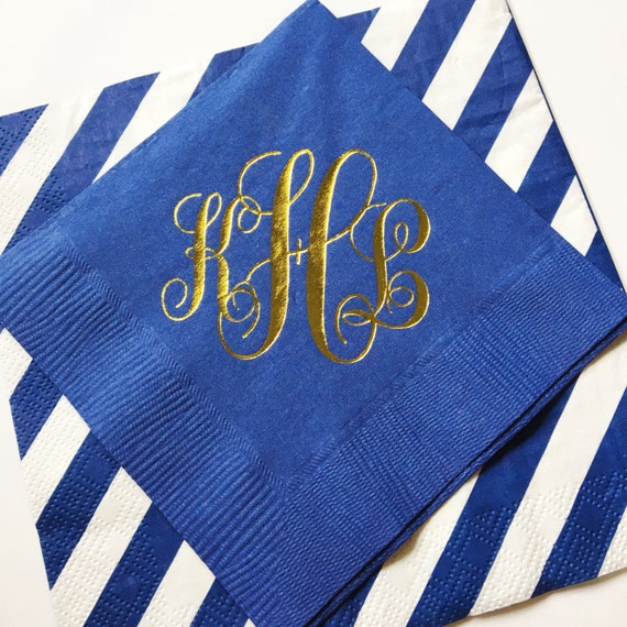 Script monogram cocktail napkins, reception napkins, wedding napkins, monogrammed napkins, wedding reception napkins
