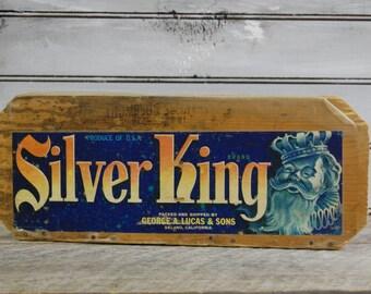 Grape Fruit Crate, California Grape Crate, Silver King Crate, Wooden Fruit Crate, Old Fruit Crate, Industrial Crate, Graphic Crate